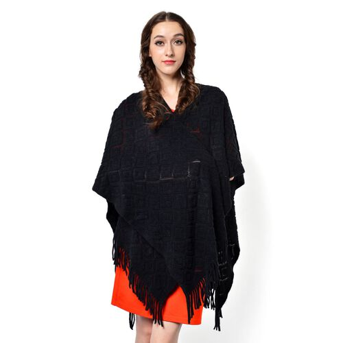 Black Colour Knitted Shawl with Tassels (Size 90x85 Cm)
