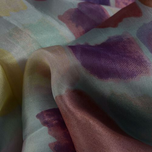 100% Mulberry Silk Purple and Multi Colour Abstract Pattern White Colour Scarf (Size 180x100 Cm)