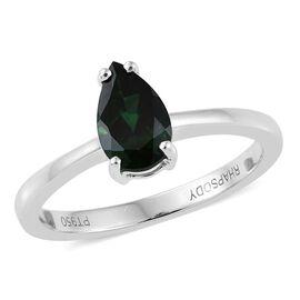 RHAPSODY 950 Platinum 1 Carat AAAA Chrome Tourmaline Pear Solitaire Ring