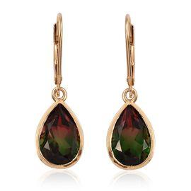 Bi-Color Tourmaline Quartz (Pear) Lever Back Earrings in 14K Gold Overlay Sterling Silver 7.000 Ct.