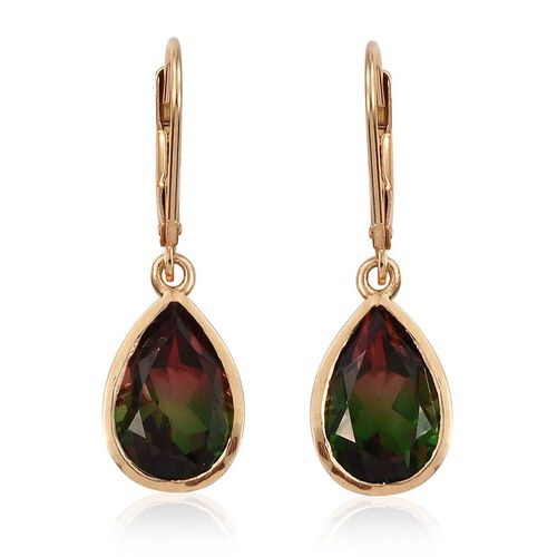 Bi-Color Tourmaline Quartz (Pear) Lever Back Earrings in 14K Gold Overlay Sterling Silver 7.000 Ct.
