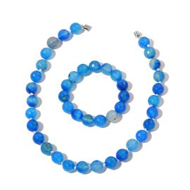 Rare Size Blue Agate Necklace (Size 18) and Stretchable Bracelet (Size 6.50) in Silver Tone 735.000 Ct.