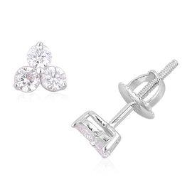 RHAPSODY 950 Platinum 0.50 Carat IGI Certified 3 Stone Diamond VS/E-F Stud Earrings