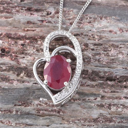 African Ruby (Ovl 2.50 Ct), Diamond Pendant With Chain in Platinum Overlay Sterling Silver 2.510 Ct.