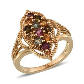 Rainbow Tourmaline (Rnd) Ring in 14K Gold Overlay Sterling Silver 1.250 Ct.