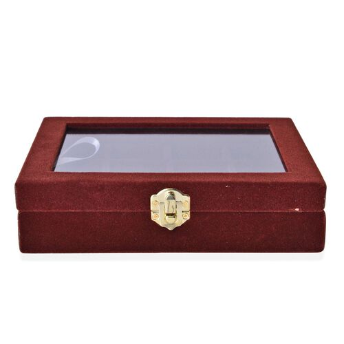 Chocolate Colour 12 Sections Velvet Jewelry Box with Anti Tarnish Treatment (Size 20X15X4.5 Cm)