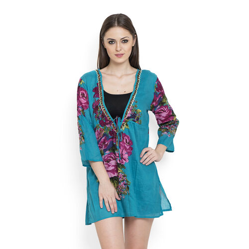100% Cotton Pink and Multi Colour Flowers Embroidered Teal Green Colour Beach Cover up and Poncho (Size 75x50 Cm)