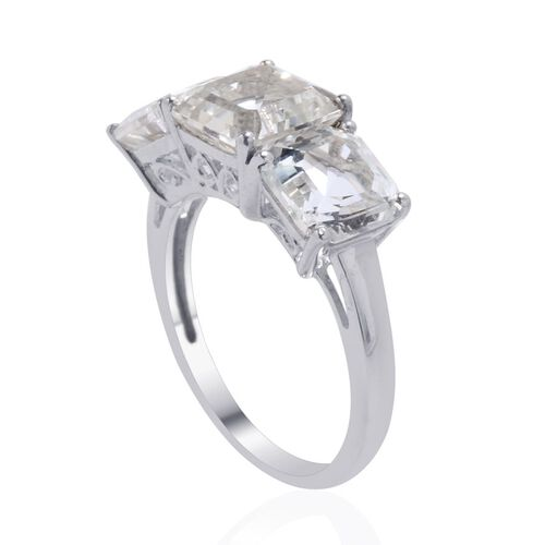 White Topaz (Asscher Cut 2.50 Ct) 3 Stone Ring in Platinum Overlay Sterling Silver 6.500 Ct.