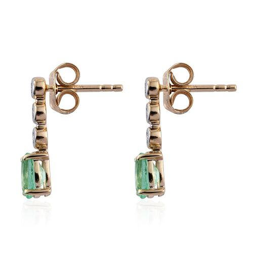 14K Y Gold Boyaca Colombian Emerald (Ovl), Diamond Earrings (with Push Back) 1.000 Ct.