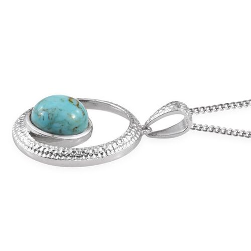 Arizona Matrix Turquoise (Rnd) Solitaire Pendant With Chain in Platinum Overlay Sterling Silver 2.750 Ct.