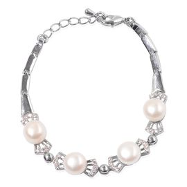 Fresh Water White Pearl and Simulated White Diamond Bracelet (Size 7.5 with Extender) in Silver Tone 20.000 Ct.