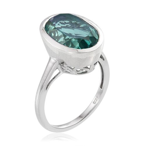 Peacock Quartz (Ovl) Solitaire Ring in Platinum Overlay Sterling Silver 6.500 Ct.