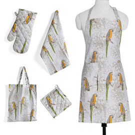 Kitchen Textiles White, Green and Orange Colour Parrot Printed Apron (Size 75x65 Cm), Glove (32x18 Cm), Pot Holder (Size 20x20 Cm), Kitchen Towel (Size 65x40 Cm) and Bag (45x35 Cm)