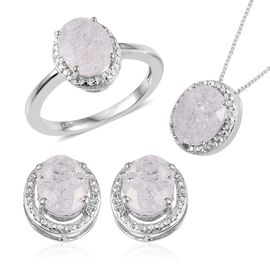 Diamond Crackled Quartz (Ovl), Diamond Ring, Pendant With Chain and Stud Earrings (with Push Back) in Platinum Overlay Sterling Silver 7.280 Ct.