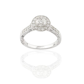 9K White Gold SGL Certified Diamond (Rnd 0.50 Ct) (I3/G-H) Ring 1.000 Ct.
