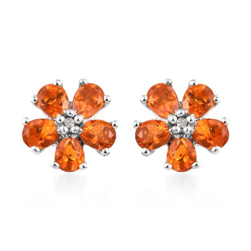 Jalisco Fire Opal (Pear), Diamond Flower Stud Earrings (with Push Back) in Platinum Overlay Sterling Silver 1.000 Ct.