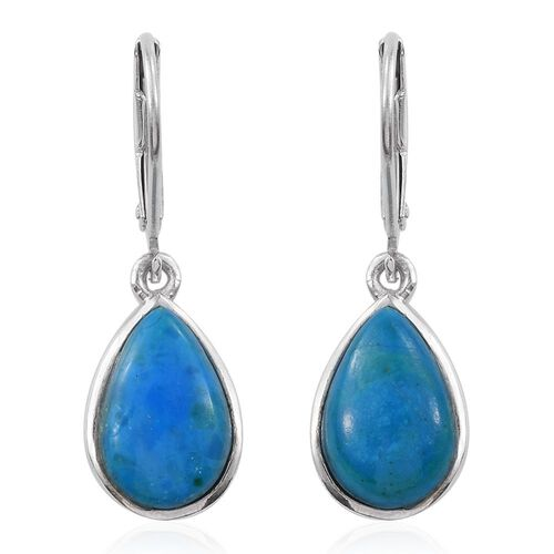 Natural Rare Opalina (Pear) Lever Back Earrings in Platinum Overlay Sterling Silver 5.250 Ct.