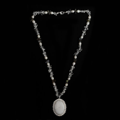 Austrian Crystal, Howlite, Labradorite, Fresh Water Pearl Necklace (Size 20)  116.900  Ct.
