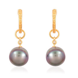 Tahitian Pearl (9-10 mm) and White Topaz Earrings (with Clasp) in Yellow Gold Overlay Sterling Silver