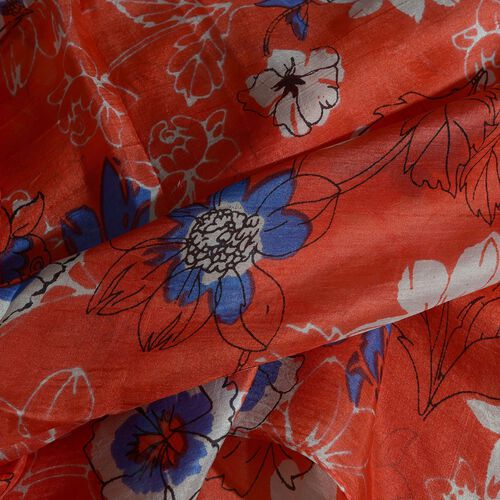100% Mulberry Silk Blue and White Colour Floral Pattern Red Colour Scarf (Size 180X50 Cm)