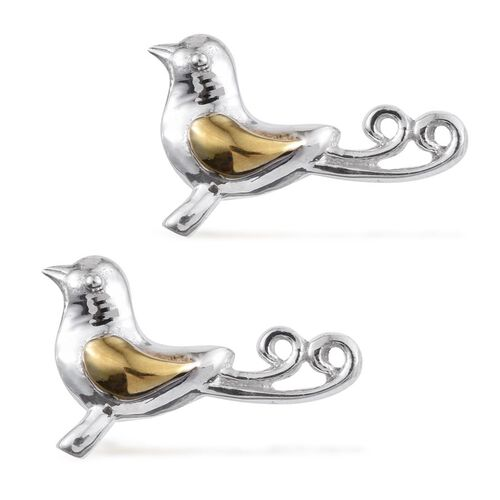 Bird of Paradise 2 Tone Silver Stud Earrings in Platinum and Gold Overlay Silver Wt. 4.25 Gms.