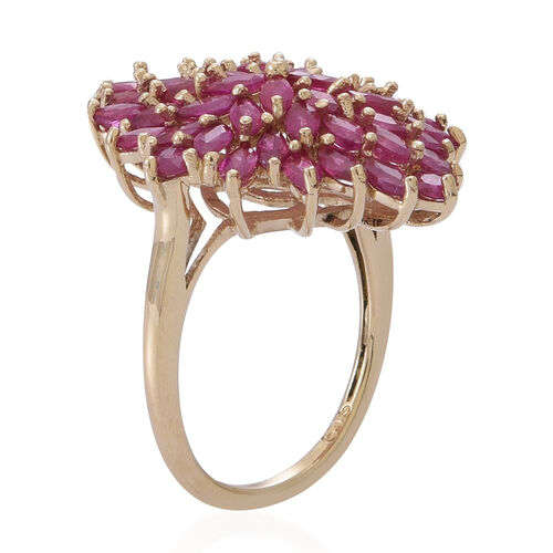 9K Y Gold Burmese Ruby (Mrq) Cluster Ring 5.500 Ct. Gold Wt 5.30