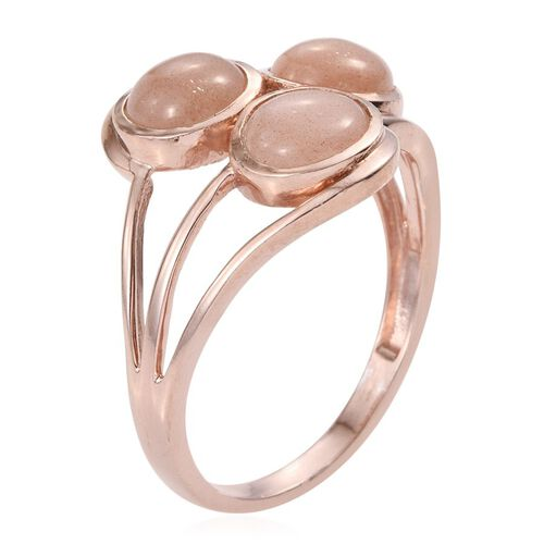 Morogoro Peach Sun Stone (Rnd) Trilogy Ring in Rose Gold Overlay Sterling Silver 4.500 Ct.