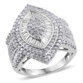 Diamond (Rnd) Ring in Platinum Overlay Sterling Silver 1.020 Ct.