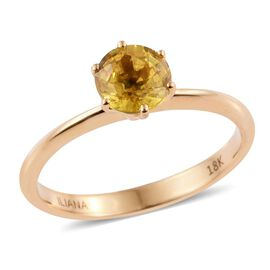 ILIANA 18K Yellow Gold 1 Carat Yellow Sapphire Solitaire Ring