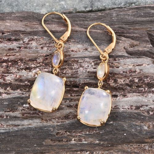 Natural Rainbow Moonstone (Cush) Earrings in 14K Gold Overlay Sterling Silver 14.500 Ct.