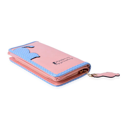 Pink and Blue Colour Cat Charm Wallet (Size 19x9x3 Cm)