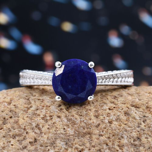 Lapis Lazuli (Rnd) Solitaire Ring in Platinum Overlay Sterling Silver 2.500 Ct.