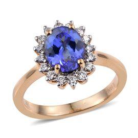 ILIANA 18K Y Gold AAA Tanzanite (Ovl 1.50 Ct), Diamond Ring 1.900 Ct.
