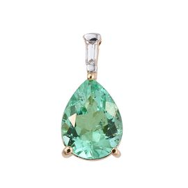 ILIANA 18K Y Gold Boyaca Colombian Emerald (Pear 1.60 Ct), Diamond Pendant 1.650 Ct.