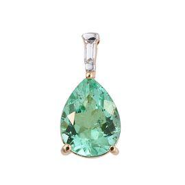 ILIANA 18K Y Gold Boyaca Colombian Emerald (Pear 1.60 Ct), Diamond Pendant 1.650 Ct.