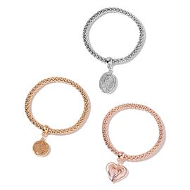 AAA White Austrian Crystal Tree, Heart and Oval Charm Popcorn Chain Stretchable Bracelet (Size 7.5) in Silver, Yellow and Rose Gold Tone