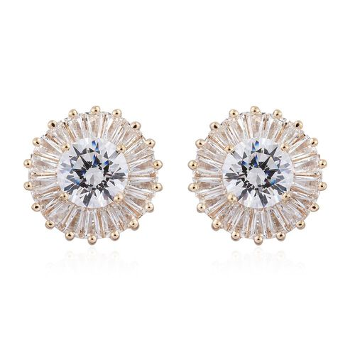 9K Yellow Gold Stud Earrings Made with SWAROVSKI ZIRCONIA  (with Push Back)