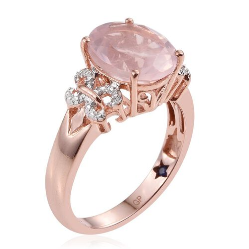 GP Rose Quartz (Ovl 4.20 Ct), Kanchanaburi Blue Sapphire Ring in Rose Gold Overlay Sterling Silver 4.250 Ct.