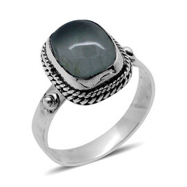 Royal Bali Collection  Aquamarine (Cush) Solitaire Ring in Sterling Silver 2.280 Ct.