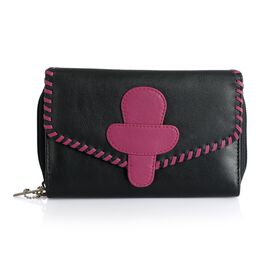 Luxury Top Grain Genuine Leather RFID Blocker Braided Black and Fuchsia Colour Ladies Wallet (Size 17.5x11x3.5 Cm)