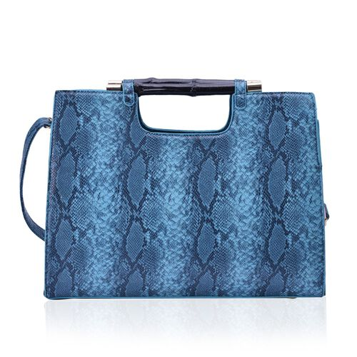Bamboo Collection Snake Skin Bamboo Turquoise Colour Bag with Adjustable Shoulder Strap (Size 31.5x19x11 Cm)