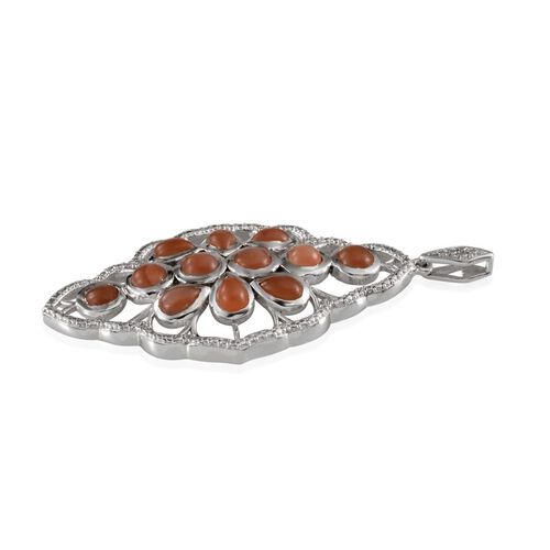 Mitiyagoda Peach Moonstone (Rnd) Pendant in Platinum Overlay Sterling Silver 5.500 Ct.