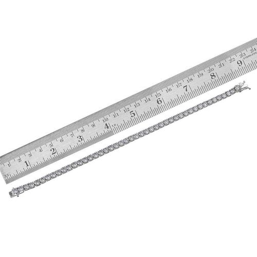 J Francis - Platinum Overlay Sterling Silver (Rnd) Bracelet (Size 8) Made With SWAROVSKI ZIRCONIA