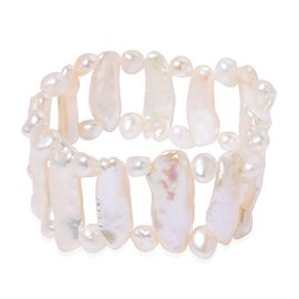 White Keshi Pearl and Fresh Water White Pearl Stretchable Bracelet (Size 6 to 9)