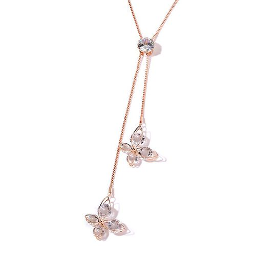 Simulated White Diamond Necklace (Size 22 with 2 inch Extender) in Rose Gold Tone