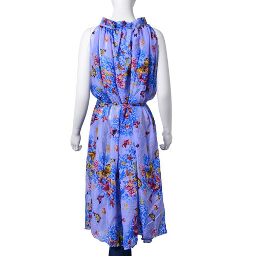 Midi Length Yellow, Red and Multi Colour Floral and Butterfly Pattern Blue Colour Dress (Free Size)