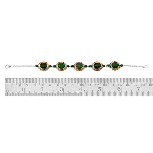 Canadian Ammolite (Ovl), Russian Diopside Bracelet (Size 7.5) in Yellow Gold Overlay Sterling Silver 11.750 Ct.