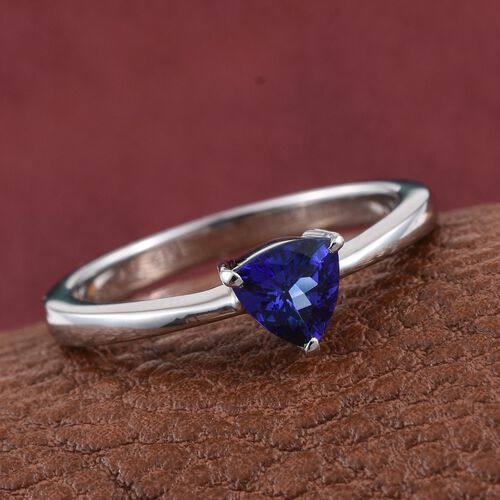 RHAPSODY 950 Platinum 0.50 Carat AAAA Tanzanite Trillion Solitaire Ring.
