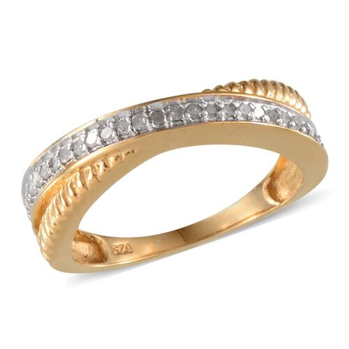 Diamond (Rnd) Criss Cross Ring in Yellow Gold Overlay Sterling Silver 0.150 Ct.