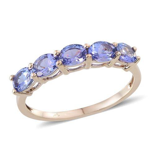 9K Y Gold Tanzanite (Ovl) 5 Stone Ring 2.000 Ct.